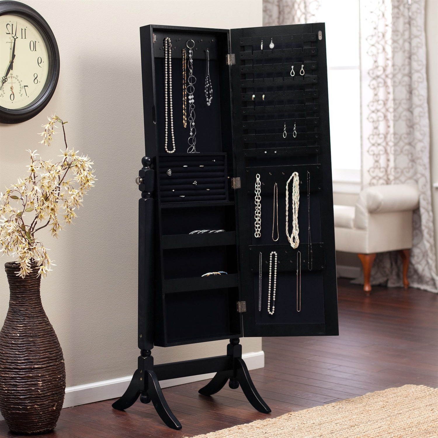 Full Length Tilting Cheval Mirror Jewelry Armoire in Black ...