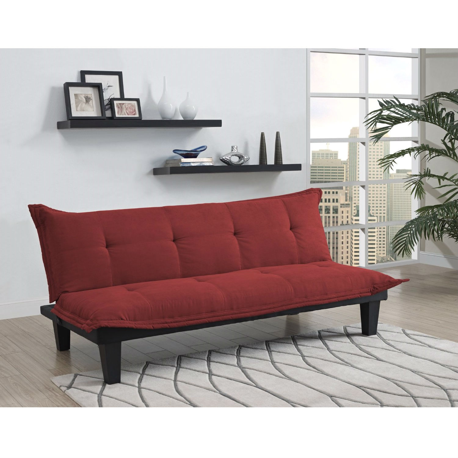 Contemporary Futon Style Sleeper Sofa Bed in Red Microfiber
