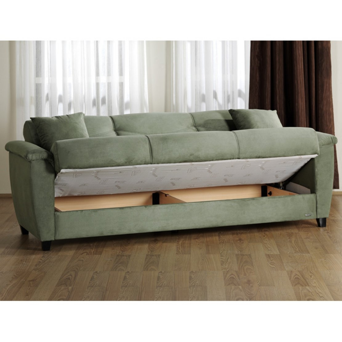 Sage Green Microfiber Couch Sofa Bed Sleeper with Hidden ...