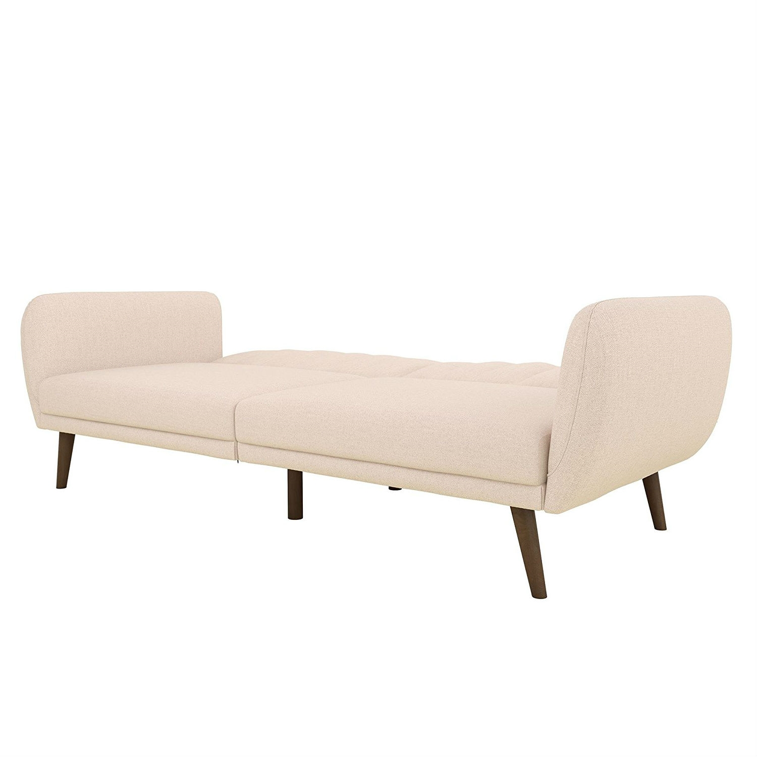 Pink Linen Upholstered Futon Sofa Bed with Mid Century ...